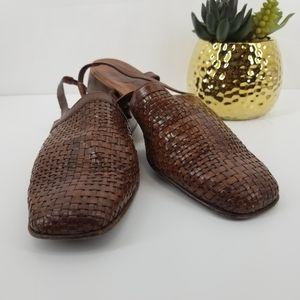 SESTO MEUCCI Brown Leather Woven Sling-back Sandal
